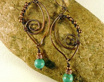 Long Turquoise Wire Wrapped Copper Earrings. Leaf Shaped, Spiral, Infinity,  Autumn