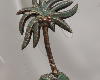 Vintage Celluloid and Enamel Palm Tree Pin