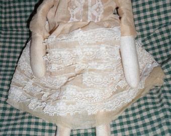 Extreme Primitive, Faceless, Attic Doll, Grungy, Folk Art, Doll, Cloth Doll, Vintage Lace, Wall Hanger, Shelf Sitter, OOAK