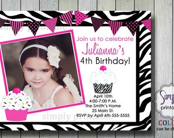 Cupcake Zebra Print Girls Birthday Invitation