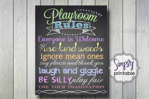 Rainbow Color Playroom Rules Print (Printable 16x20 Print)