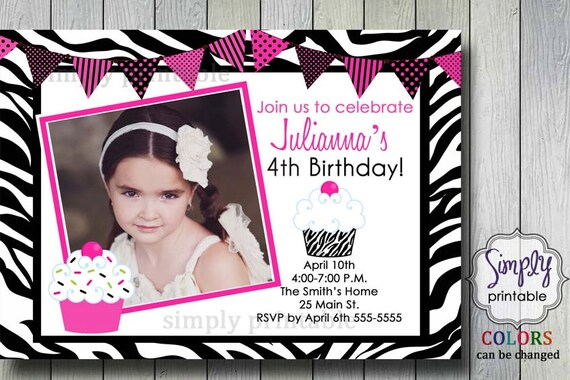 Cupcake Zebra Print Girls Birthday Invitation