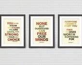 Bob Marley - Set of Three 13x19 Typography prints -  RETRO Colors
