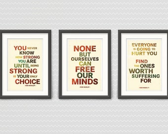 Bob Marley - Set of Three 13x19 Typography prints -  RETRO Colors