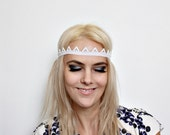 Tiara Crown White with White Rhinestone headband with beads