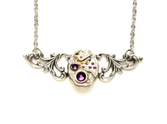 FEBRUARY Steampunk Necklace AMETHYST SILVER Steampunk Vintage Watch Necklace Wedding Victorian Steampunk Jewelry By Victorian Curiosities