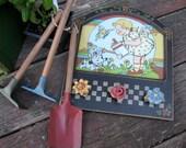 Vintage Toy Garden Set  Children Shovel, Hoe, & Rack Display