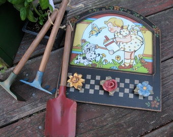 Vintage Toy Garden Set  Children Shovel, Hoe, & Rack Display