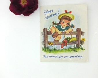 Vintage Pop-Up Birthday Card, Bouquet of Flowers