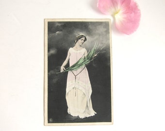 Antique German Postcard, Beautiful Woman With Frond