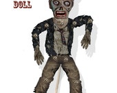 Zombie Puppet doll Halloween DIY articulated paper  premade page