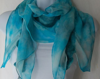 Hand Dyed Nuno Felted Chiffon Silk Scarf - Turquoise & Teal chiffon with  Felted Merino Wool