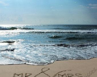 Mr. & Mrs. Sand Writing - Beach Wedding Gift
