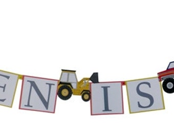 Big Rig Party Decorations from Meri Meri - Personalized Trucks Birthday Banner with Photo Option
