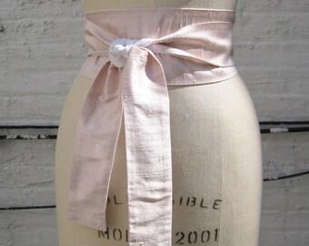 Pale Pink and White Reversible Silk Shantung Obi Sash