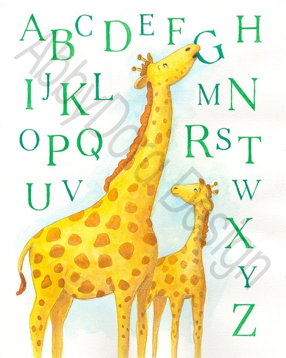 Giraffe, Mother and Baby, Alphabet, Hand Lettering, Nursery Art, Yellow, Green, ABCs, Children's Art