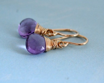 Purple African Amethyst Earrings 14K Gold Filled, Hand Wire Wrapped, February Birthstone, Wedding Jewelry, Gift Under 30