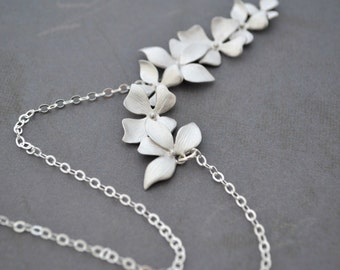 Elongated Wild Orchid Necklace, Sterling Silver Chain, Wedding Jewelry
