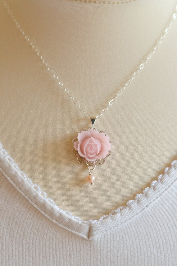 https://www.etsy.com/listing/174575258/silver-rose-pendant-necklace-pink-rose