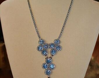 Vintage Antique Blue Rhinestone & Rhodium Plated Necklace, Earring Set