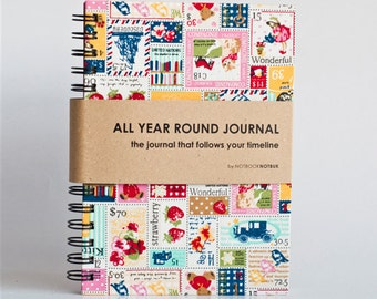 All Year Round Timeless Journal / Planner (Self-filled dates, fabric wrapped)- Country Stamps