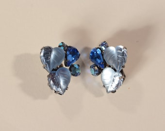 Vintage 1940s Coro Rhinestone Earrings - Heart Leaf - Something Blue