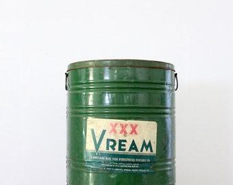 Vream shortening can circa 1930, xl kitchen tin, industrial can