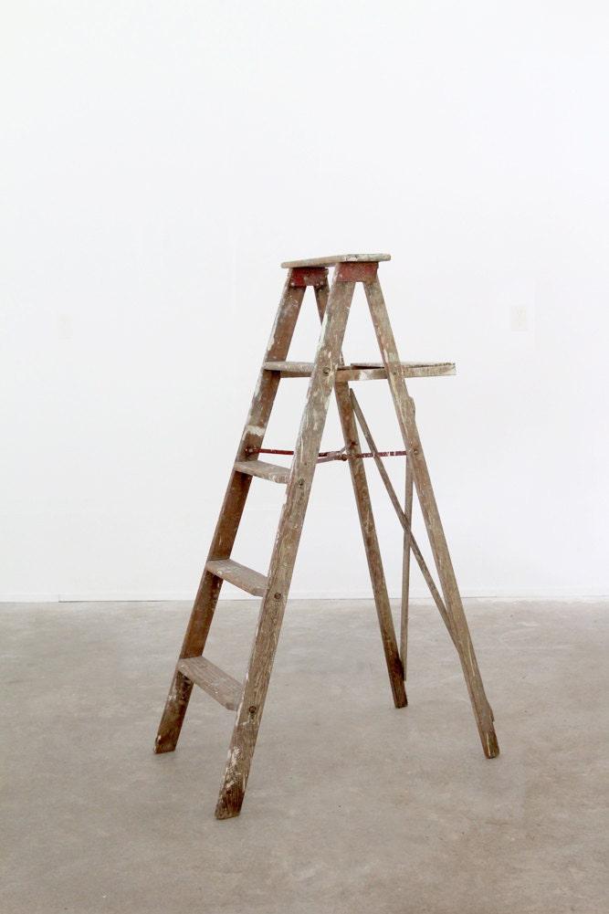 Antique Wood Ladder Old Wooden Painters Ladder