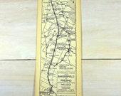 Vintage 1933 Strip Map Bakersfield Fresno Porterville Tulare Visalia Hanford Central Valley Automobile Roads Route California