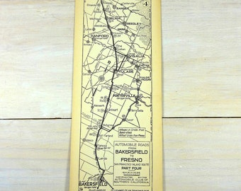 Vintage 1933 Strip Map Bakersfield Fresno Porterville Tulare Visalia Hanford Central Valley Automobile Roads Route California