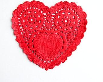 Lovely HEART Doily - RED