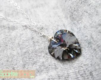 Black Heart necklace, Swarovski heart, Swarovski crystal necklace, sterling silver necklace, Lolita necklace, Lolita jewelry, Gothic