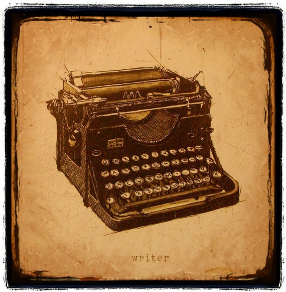 Illustration, Still life, Collage, Writer, art, Vintage Typewriter, Sepia, Retro, Underwood, Brown,  Fine Art Print 8x8