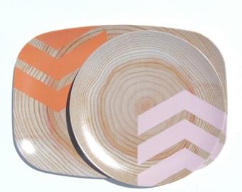 """Modern Wood Simple Chevron 14"""" Platter, Orange/Ballet Slipper"""