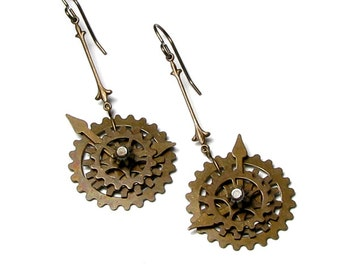 Steampunk Gears Antique Brass Dangle Earrings, Time Travel Jewelry, Movable Cogs, Wheels, Watch Parts, Hands of Time, Trendy Gift For Women