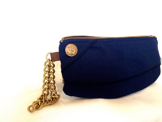 RESERVED: Clutch Purse from Navy Blue Vintage Garrison Hat
