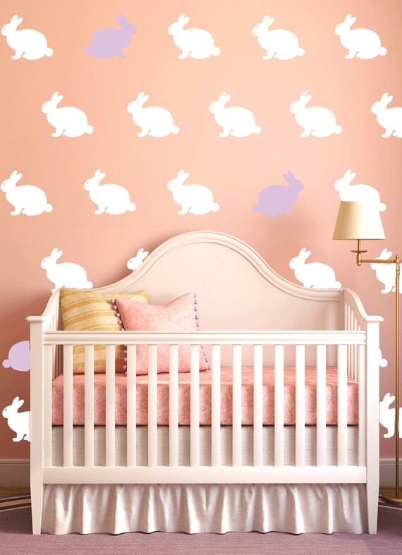 Bunny Decals Rabbit Decals Girls or Boys Nursery Rabbit Vinyl Decals Wallpaper Stencil Easter Bunny