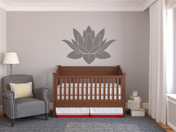 Lotus Flower Vinyl Decal Wall Art Spiritual Decal Wall Mural Graphics for Home, Kids, Children, Dorms, Baby Nursery