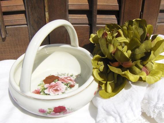 Vintage Porcelain Rose Basket Formalities Baum Bros Maria Pink Wine Burgundy - #1536