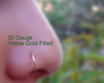 Nose Ring Hoop - Tragus Earring - Helix Earring - Cartilage Piercing -  14K Yellow Gold Filled - 20 Gauge - 7mm Inner Diameter Hoop