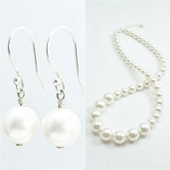pearl jewelry set pearl necklace wedding jewelry by abbling