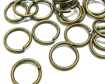 8mm Jump Rings : 100 Antique Brass / Bronze Open Jump Rings 8mm x .9mm (19 Gauge) - Lead, Nickel, & Cadmium free Jewelry Finding 8/.9 -1