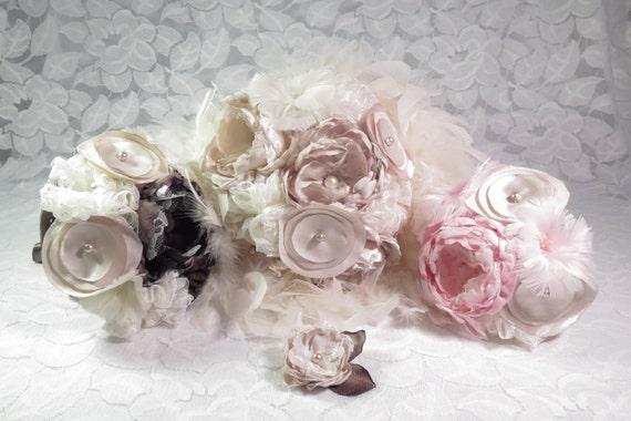 Ivory & Champagne Bride Bouquet - Southern Wedding - Feather Bouquet - Cloth Flowers - Bridal Flowers - Vintage Wedding Bouquet - Magnolia