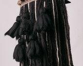 Black Tassel String Belly Dance Belt in Brown, Black, Cream & Beige Tones
