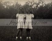 Halloween Art, Gas Mask Art Print, Twin Sisters Art, Creepy Art, Collage Art, Vintage Photography, Halloween Decor