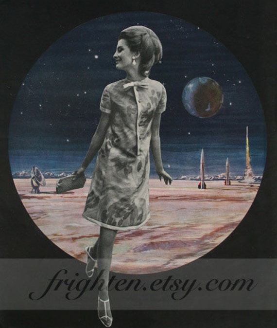 Rare Wonderful 1950s Space Art: One Of A Kind Vintage Paper Collage Retro Outer Space By