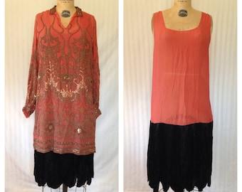 Beaded Coral & Black Tunic Dress / 1920s / medium - large / great gatsby 20's dress beading party dress jazz age