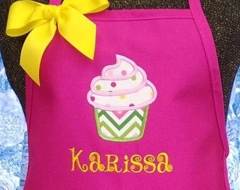 Child Apron Personalized Gift Children Kids CupCake Fabric Applique Monogrammed