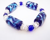 Blue chunky ceramic glass rhinestone bracelet set
