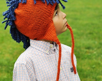 SALE! Mohawk Hat- Children- Gray with red mohawk
